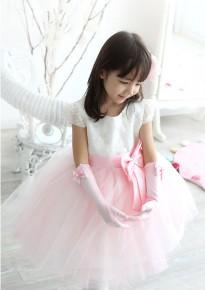 White and Pink Pom Pom Princess Dress
