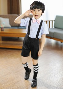 Blue Strips Short Sleeves Shirt with Black Shorts and Suspenders