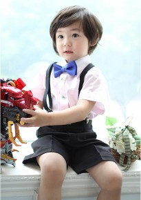 Pink Strips Short Sleeves Shirt with Black Shorts and Suspenders
