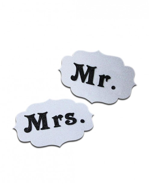Mr. and Mrs. Tag - Glitter White