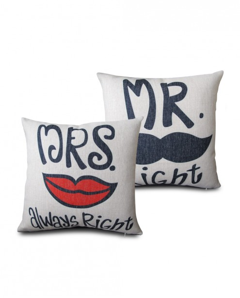 Mr. Right and Mrs. Always Right Pillow Cover Set