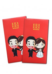 Cartoon Bride and Groom Red Packets (5pcs/pack) - Rectangular