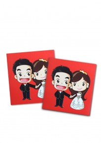 Cartoon Bride and Groom Red Packets (5pcs/pack) - Square