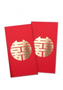 Round Golden Hotstamp Double Happiness Red Packet (5pcs/pack) - Rectangular