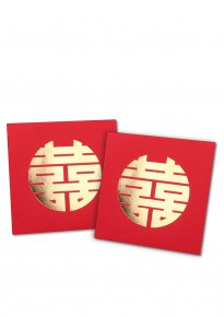 Round Golden Hotstamp Double Happiness Red Packet (5pcs/pack) - Square