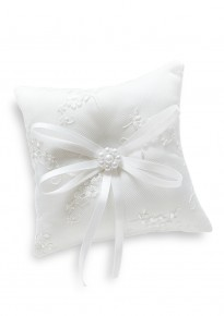 Embroidered Floral Wedding Ring Pillow