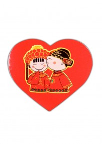 Chinese Groom Kissing Bride Heart-Shaped Adhesive Stickers