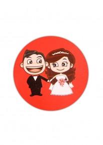 Western Wedding Couple Round-Shaped Adhesive Stickers