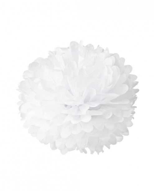 "Paper Flower Pom Pom - White (Available in 6"" / 8"" / 10"" / 12"" / 14"" / 16"")"